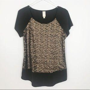 Bronze gold sequin tunic top size medium
